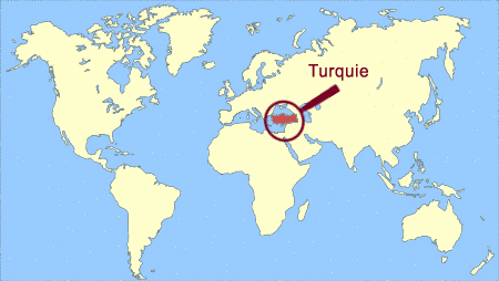 Turquie sur la carte du monde